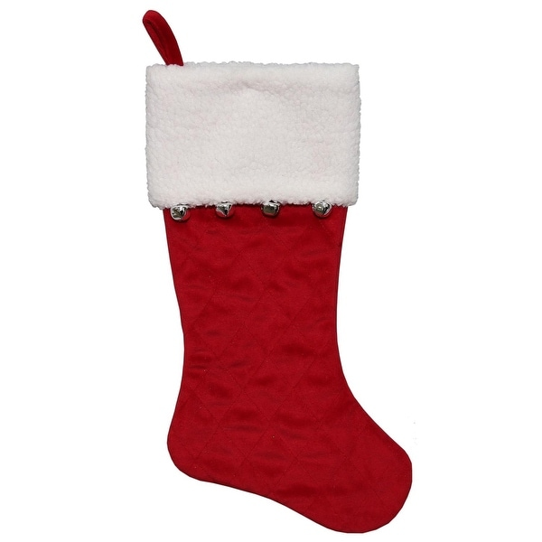 "20.5"" Red Velvet Quilted Silver Jingle Bell Decorative Christmas Stocking with Sherpa Cuff"