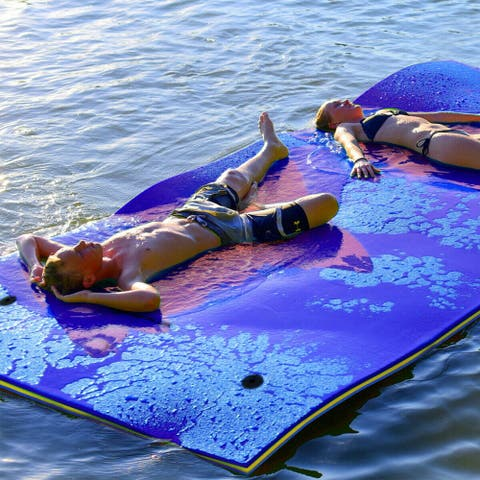 3 Layer Floating Water Pad Foam Mat Water Recreation Relaxing 9' x 6'