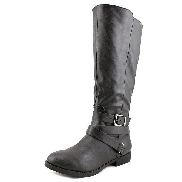 Style & Co Lolah Wide Calf Women Round Toe Leather Black Knee High Boot