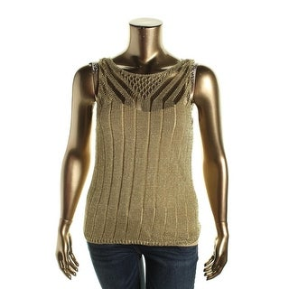 Lauren Ralph Lauren Womens Metallic Open Stitch Tank Top