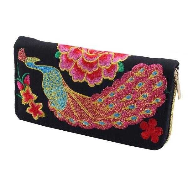 Woman Embroidered Flower Peacock Pattern Zipper Closure Money Wallet Purse