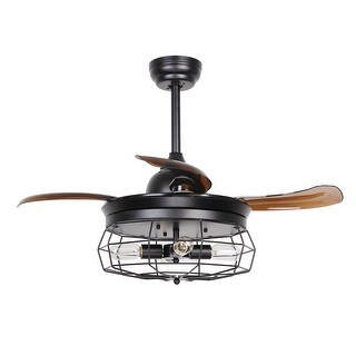 Industrial Black 36.5-inch 4-Light Foldable 4-Blades Ceiling Fan