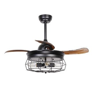 Industrial ceiling fans for less overstock industrial black 365 inch 4 light foldable 4 blades ceiling fan aloadofball Images