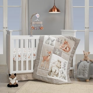 Lambs & Ivy Painted Forest Gray/Beige Woodland Animals 4-Piece Nursery Baby Crib Bedding Set