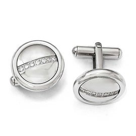 Chisel Stainless Steel Polished with CZ Circle Cuff Links