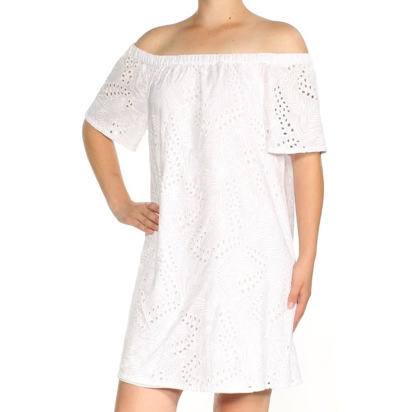 4bbc4ceb662 Shop VINCE CAMUTO Womens White Lace Short Sleeve Off Shoulder Above The  Knee Shift Dress Size  M - Free Shipping On Orders Over  45 - Overstock -  23457085
