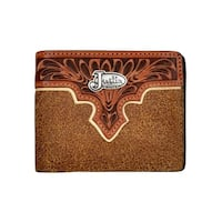 Justin Western Wallet Mens Bifold Roughout Leather Apache Tan - One size