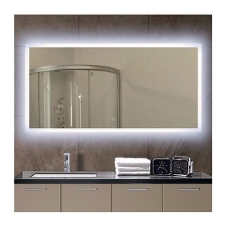 "Miseno MM4824LED 48"" W x 24"" H Rectangular Frameless Wall Mounted Mirror with LED Lighting - N/A"