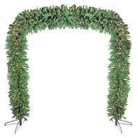 9' x 8' Commercial Size Pre-Lit Green Pine Artificial Christmas Archway - Clear Lights