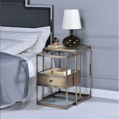 Enca Nightstand Set (2Pc Pk) in Antique Brass & Clear Glass