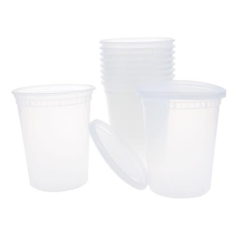 10pcs 32oz Plastic Food Storage Meal Prep Soup Containers Box with Lids Leak Resistant Stackable Reusable Microwave Freezer Safe