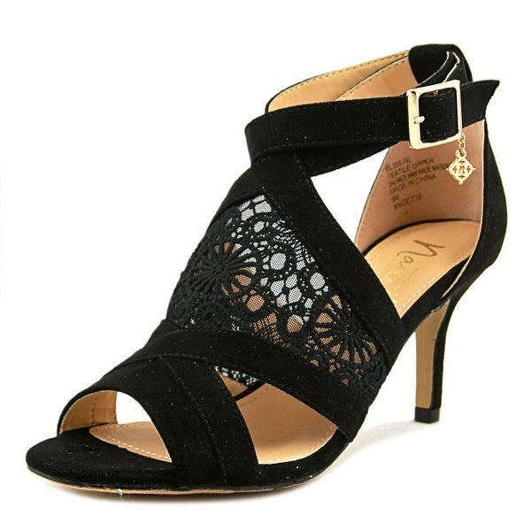 Nanette Lepore Bliss Women Open-Toe Canvas Black Heels