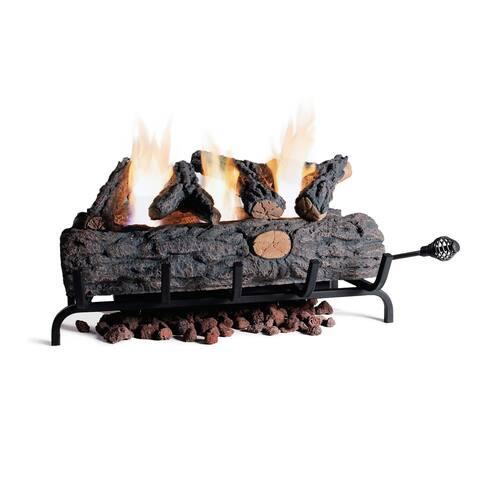 "Ventless Gel Fuel Oak Brown Fire Log Insert Set - 24"""