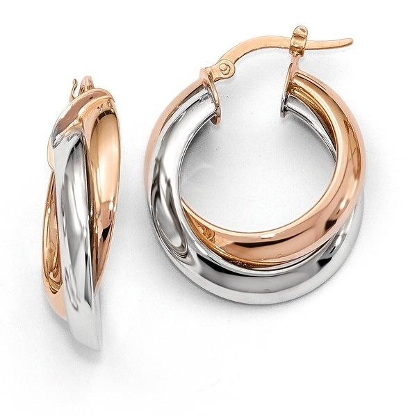 Italian 14k Two-Tone Gold Hoop Earrings