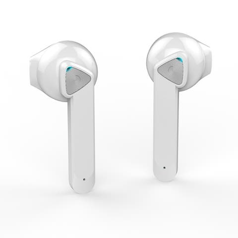 True Wireless Headphone Earbuds with Microphone for Calls , Sleek White Magnetic Charging Case - Fitness Stocking Stuffer!
