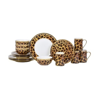 Serengeti Leopard with Electropated Gold 16 Piece Dinnerware Set