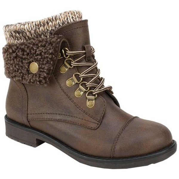 62d8389c79b4 Cliffs by White Mountain Women  x27 s Downey Lace Up Bootie Brown  Distressed Textile