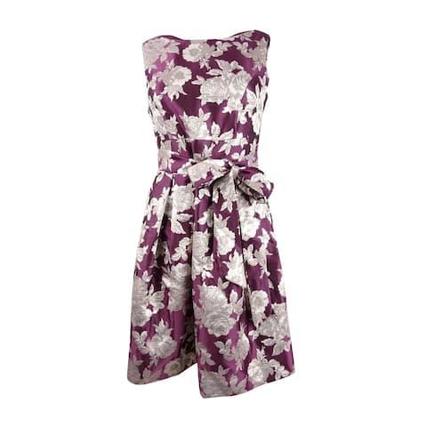 Jessica Howard Women's Petite Floral Jacquard Fit & Flare Dress - Wine