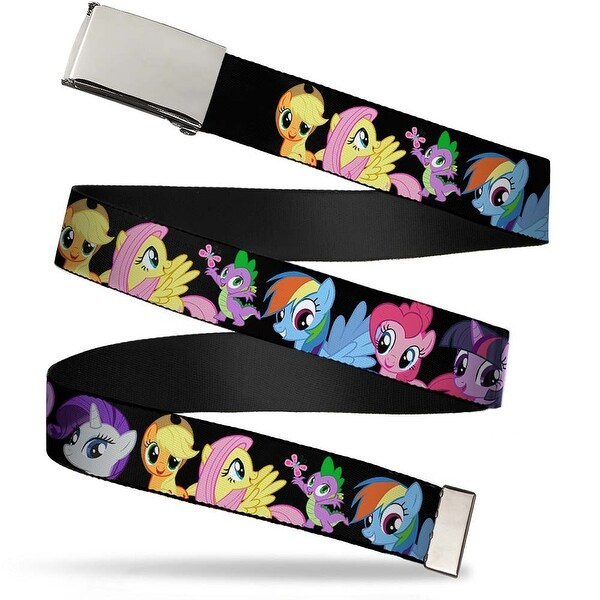 Blank Chrome Buckle Ponies Close Up Black Webbing Web Belt