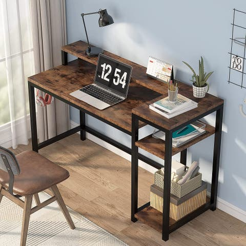 """51"""" Computer Desk with Storage Shelves for Home Office"""