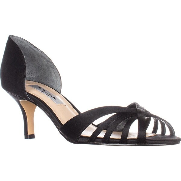 Nina Coella Open-Toe Dress Pump Heels, Black Luster