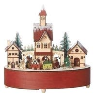 Set of 2 LED Revolving Christmas Train in Village Table Top Decoration - Brown
