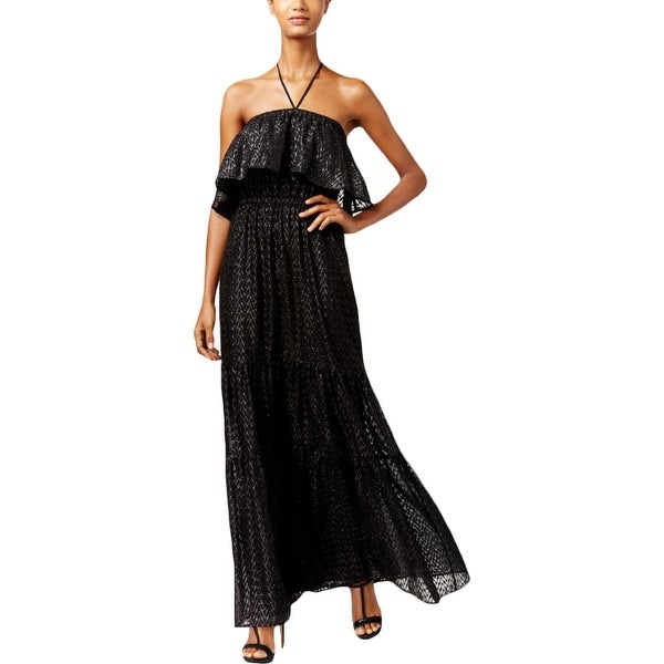 Shop Michael Kors Womens Petites Evening Dress Metallic Halter - pl ...