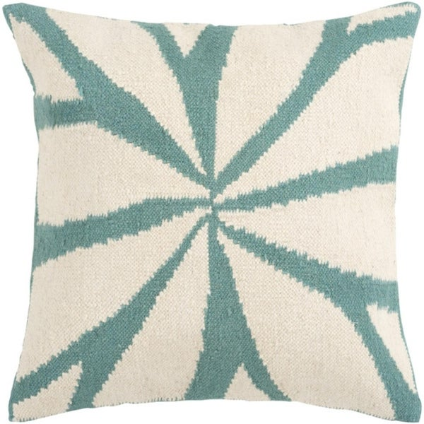 "22"" Turquoise and Antique White Asterid Decorative Throw Pillow"
