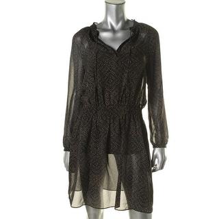 Ralph Lauren Womens Printed Split Neck Casual Dress