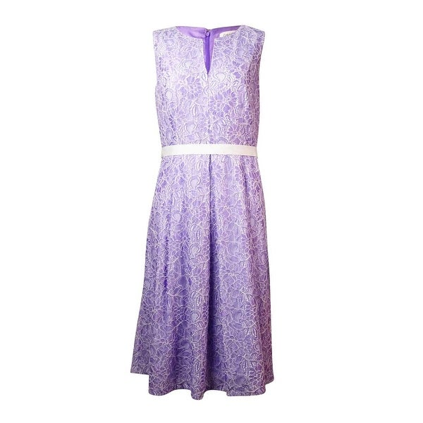 Shop Calvin Klein Women s Belted Keyhole Lace A-Line Dress - iris white -  Free Shipping On Orders Over  45 - Overstock - 15019508 95d2e8c7da
