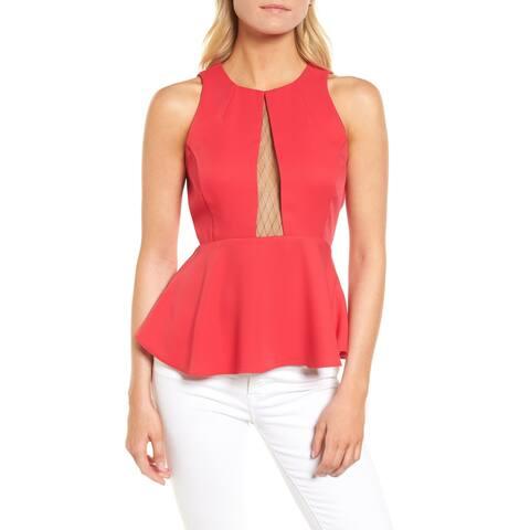 Trouve Pink Womens Size XL Jewel Neck Illusion Mesh Inset Peplum Top