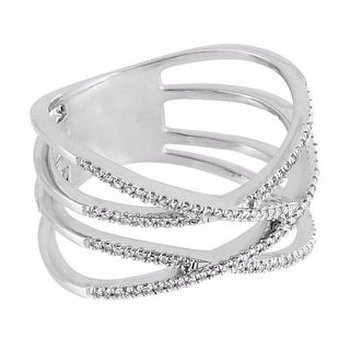 Double Infinity Design Ring 14k White Gold Womens Unique Genuine Diamonds Pave