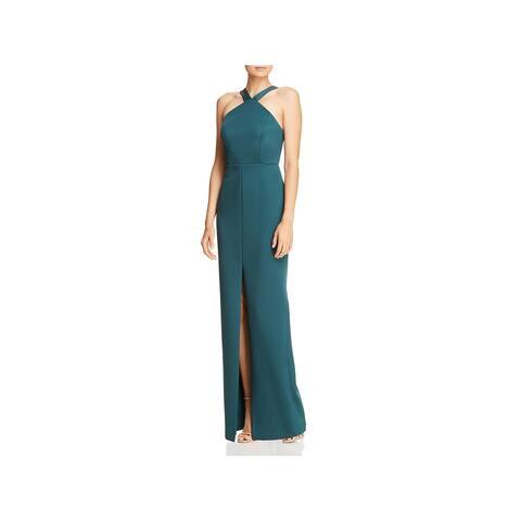 Aidan by Aidan Mattox Womens Evening Dress Halter Cut-Out