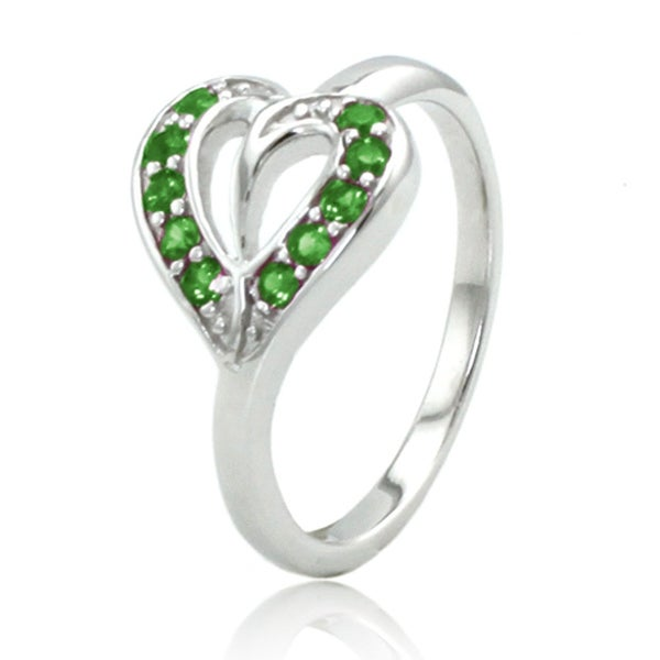 Sterling Silver Heart Leaf Ring w/ Emerald Color Cubic Zirconia