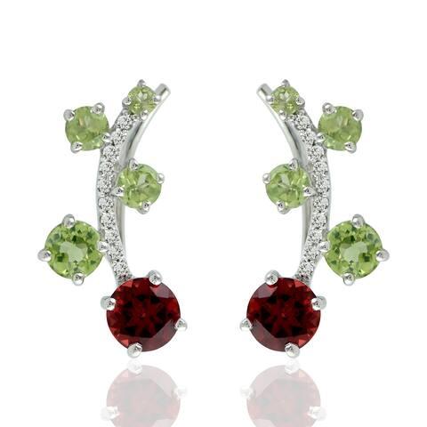 Natural Garnet Ear Climber Earrings 925 Sterling Silver Peridot Jewelry