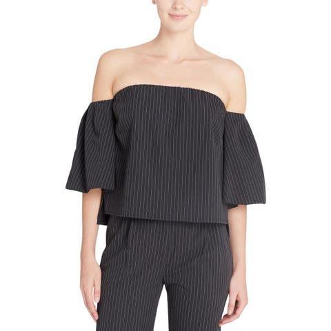 Catherine Malandrino Womens Pullover Top Pinstripe Off-The-Shoulder