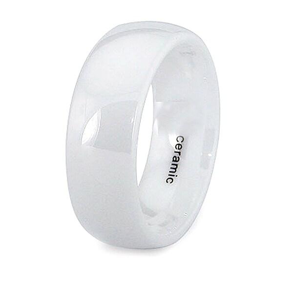 8mm Domed White Ceramic Ring (Sizes 7-12)