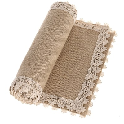Ling's moment 12x108 Inch Burlap Cream Lace Hessian Table Runners Jute Fall Spring Ester Decor Rustic Country Barn Wedding
