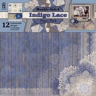 "Hot Off The Press Double-Sided Paper Pack 12""X12"" 12/Pkg-Indigo Lace"