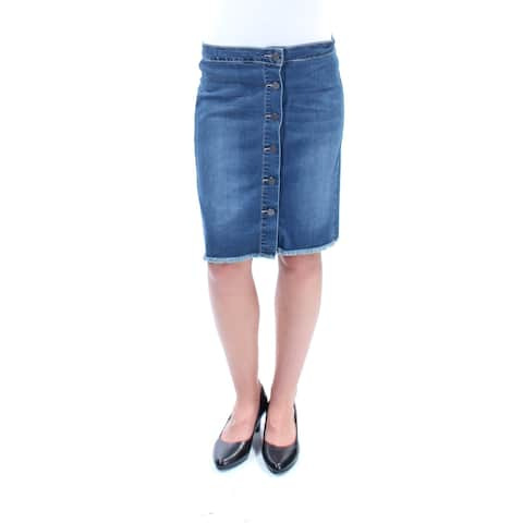 EARL JEAN Womens Blue Frayed Button Up Above The Knee Pencil Skirt Size: 2