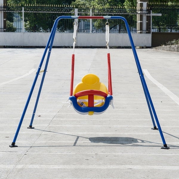 Shop Gymax 3-in-1 Kids Toddler A-Frame Swing Set For