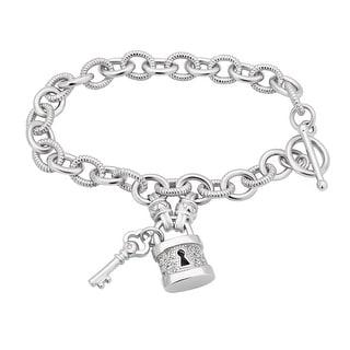 Link to Divina Sterling Silver 1/6ct TDW Lock and Key Toggle Bracelet Similar Items in Bracelets