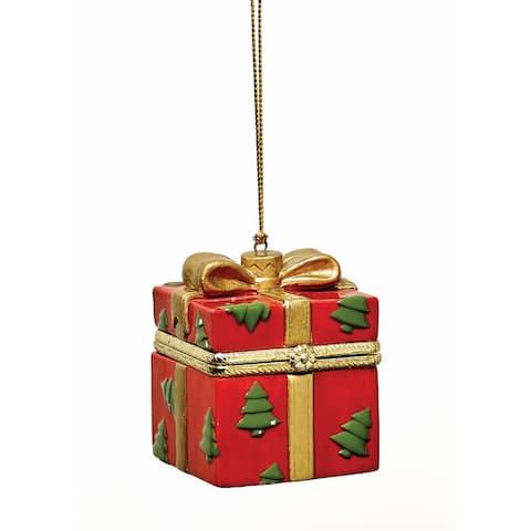 Christmas Decoration - Porcelain Surprise Ornaments Box - Red Tree Box