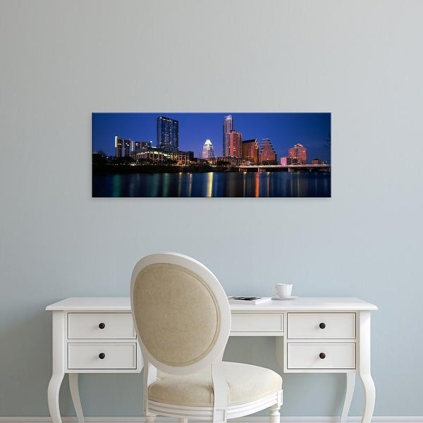 Easy Art Prints Panoramic Image 'Skyscrapers at the waterfront, Lady Bird Lake, Austin, Texas, USA' Premium Canvas Art