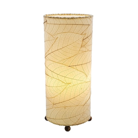 Handmade Cocoa Leaf Cylinder Lamp (Philippines)
