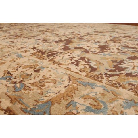 Hand-Knotted Distress look Oushak Brown,Aqua Oriental Wool Modern Oriental Area Rug (6x9) - 6' x 9'