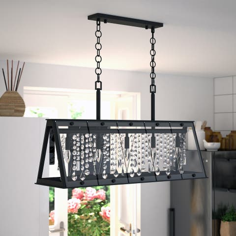 Tremont 5L Crystal Black Urban Loft Linear Chandelier Island Pendant Light Fixture - 36.5-in. W x 20.75-in. H x 10.75-in. D