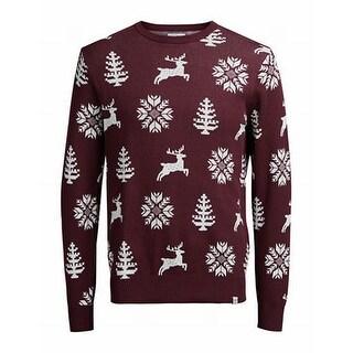 Jack & Jones NEW Red Mens Size Large L Crewneck Christmas Sweater