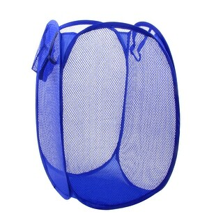 Unique Bargains Blue Foldable Meshy Design Cleaning Tidy Laundry Case Clothes Basket