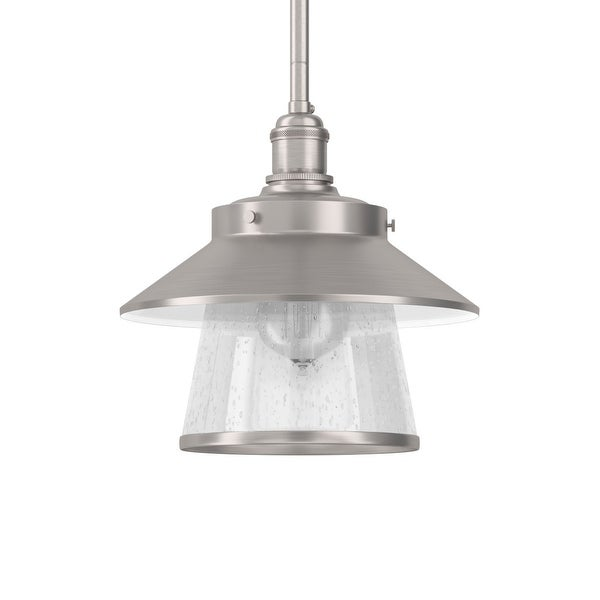 """Park Harbor PHPL5011 Stockton 9"""" Wide 1-Light Mini Pendant with Industrial Style Shade and Seedy Glass - N/A"""